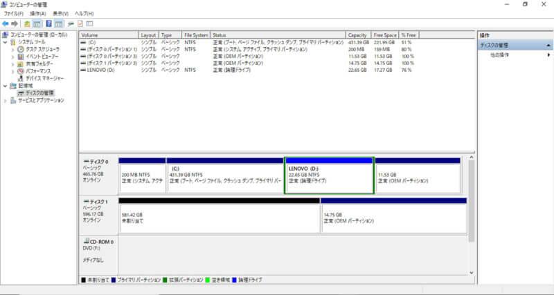 SSDのフォーマット画面